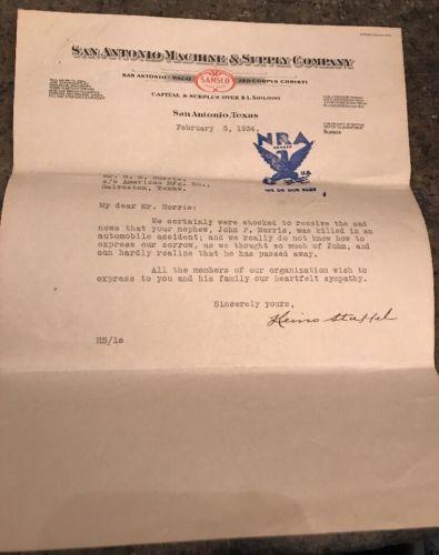 1934 San Antonio, Texas Machine & Supply Co SAMSCO Letterhead Letter WACO NRA