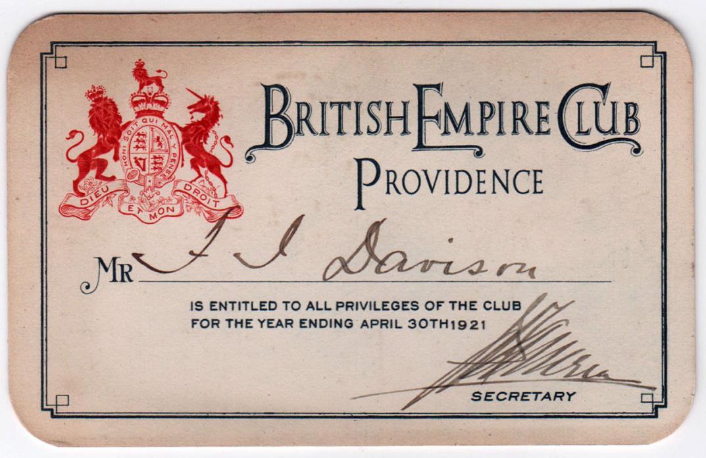1920s BRITISH EMPIRE CLUB Membership Card PROVIDENCE Rhode Island COLONIALISM