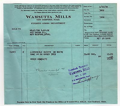 1938 WAMSUTTA MILLS New Bedford Massachusetts INVOICE Elton Wilde LUSTERCALE