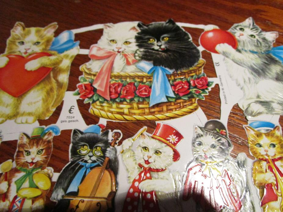 Vtg German Victorian Style Embossed KITTENS CATS Scrap Die Cuts - EF7034