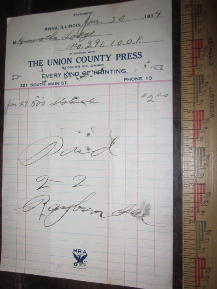 Vintage 1934 The Union County Press Anna IL. Receipt for IOOF Hiawatha Lodge