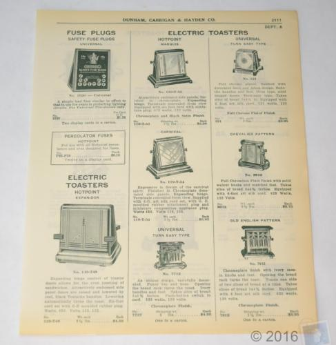 1939 Paper ADVERT Fuse Plugs - Electric Toasters - Dunham ADVERTISING 2 SIDED