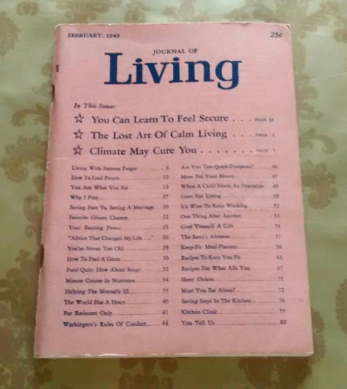 JOURNAL OF LIVING, FEBRUARY, 1949