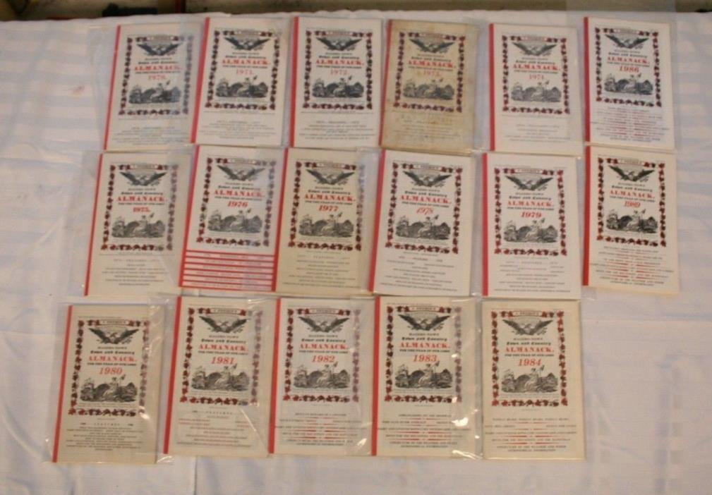 Lot of 17 J Gruber Town & Country Almanack Almanac Hagerstown MD