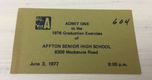 AFFTON HIGH SCHOOL - Vtg 1976 Graduation Invitation Business Card Ticket