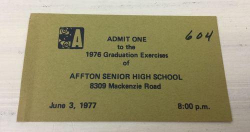 AFFTON HIGH SCHOOL - Vtg 1976 Graduation Invitation Business Card Ticket