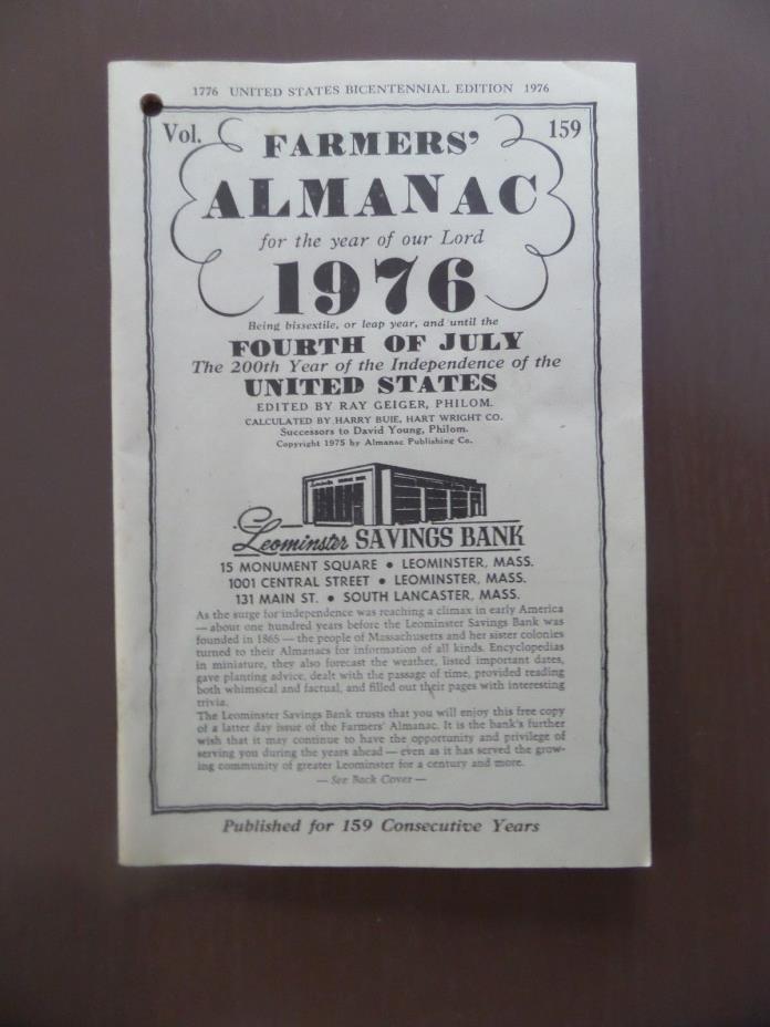 1976 - Farmers Almanac - US Bicentennial Edition
