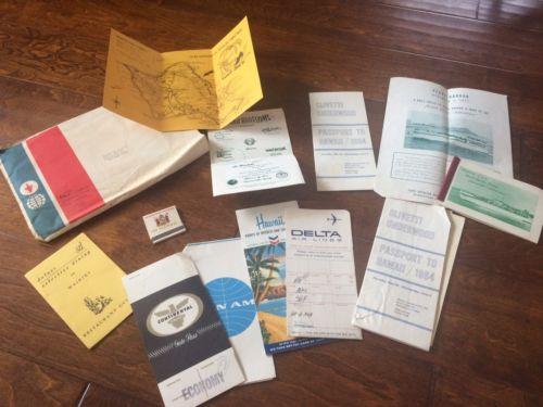 vintage 1964 ephemera Hawaiian  vacation,map ,matchbook,pearl harbor photos