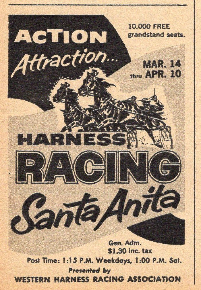 1957 HARNESS HORSE RACING TV AD~SANTA ANITA RACETRACK~CALIFORNIA