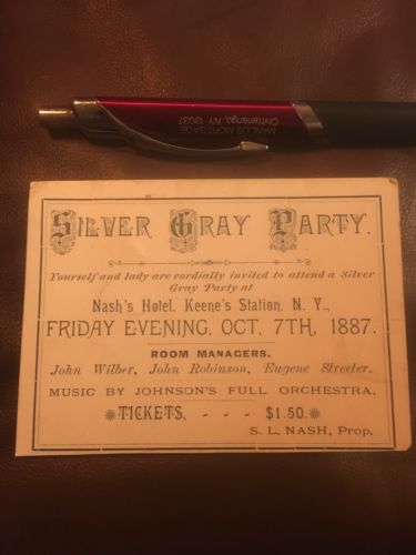 1887 TICKET ELECTION SILVER GRAY PARTY WHIG KEENE'S STATION NY NASH'S HOTEL