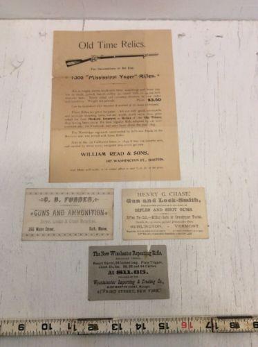 4 c 1900 Sporting Business cards Handbills, Winchester, etc