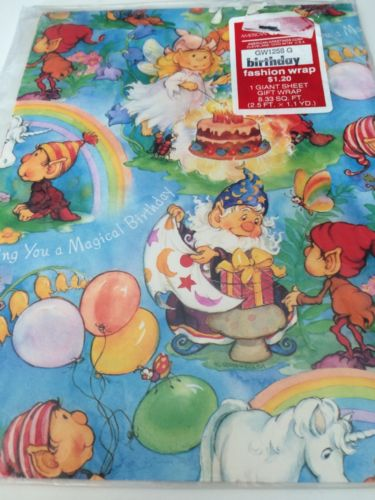 Vintage Gift Wrap Sheet Wrapping Paper Unicorn Rainbow Elves Elf Pixie Birthday