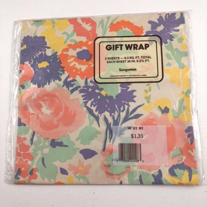Vintage Gift Wrap Wrapping Paper Pastel Floral Flowers 2 Sheets