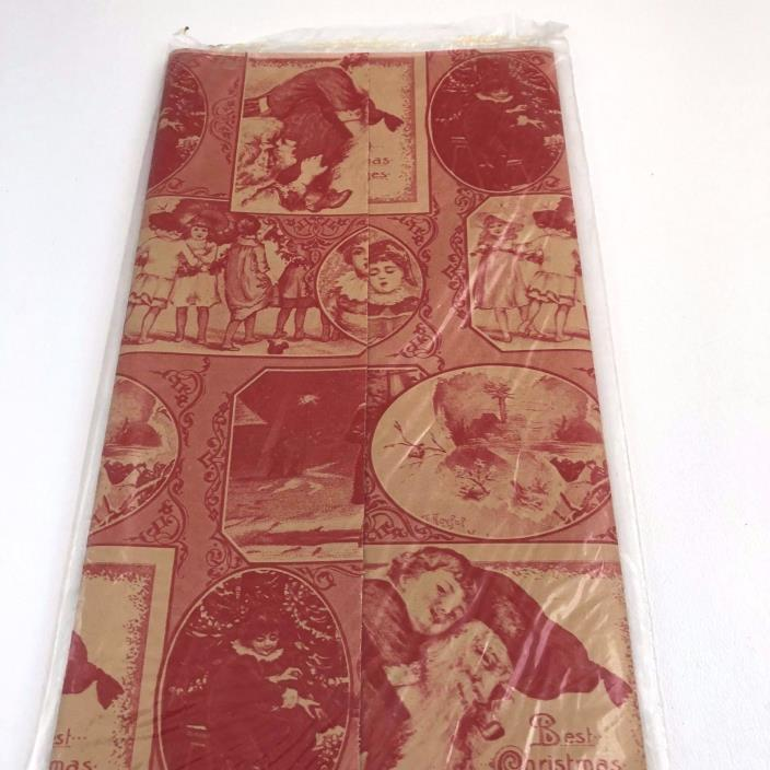 Vintage Gift Wrap Wrapping Paper Oldtime Christmas Holiday Red Beige Old Fashion