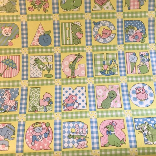 70s Vintage Wall Paper Children's ABC Print 20 in X 41 ft Nursery Decor