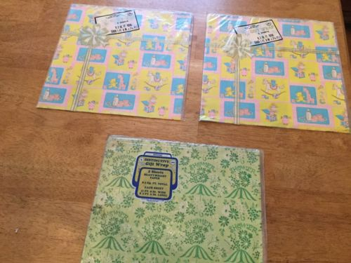 Vintage Wedding Baby Shower Gift Wrap, Wrapping Paper, 3 Packs, NOS
