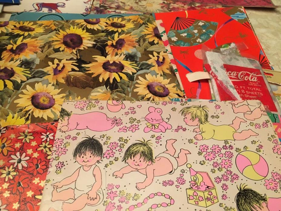 Vintage lot 50+ sheets gift wrapping paper 80's 90's scrapbooking baby sports &