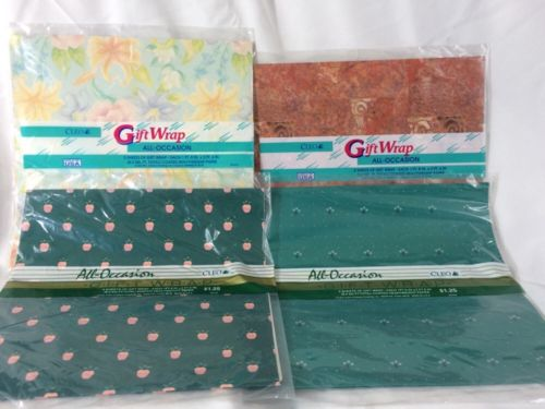Vintage Lot Of Cleo Gift Wrap All Occasion 4 Unopened Packages
