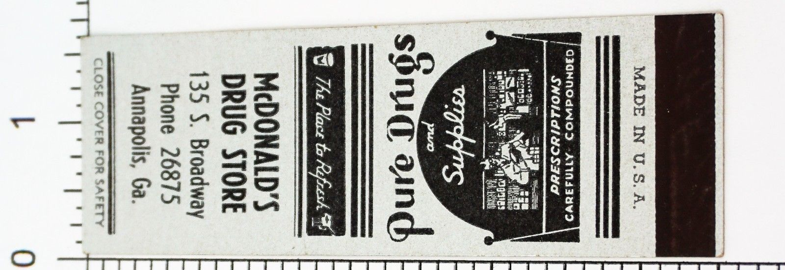 VTG 30'S 40'S DRUG STORE PHARMACY ADVERTISING MATCHBOOK MATCHES SAMPLE