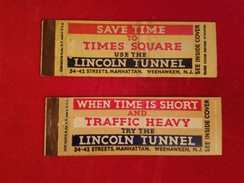 2 lincoln tunnel matchbook covers