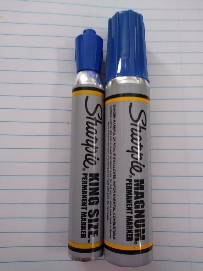 Vintage Sanford Sharpie Magnum & King Size Markers lot of 2 Blue Potent Ink NOS