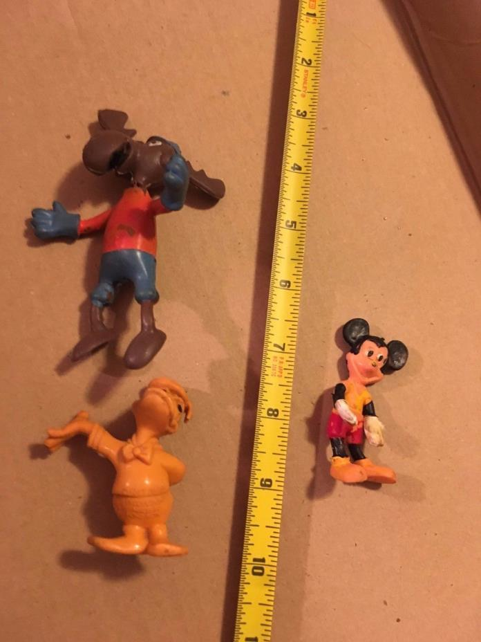 Vintage Mickey Mouse, Bullwinkle and Donald Duck  Erasers