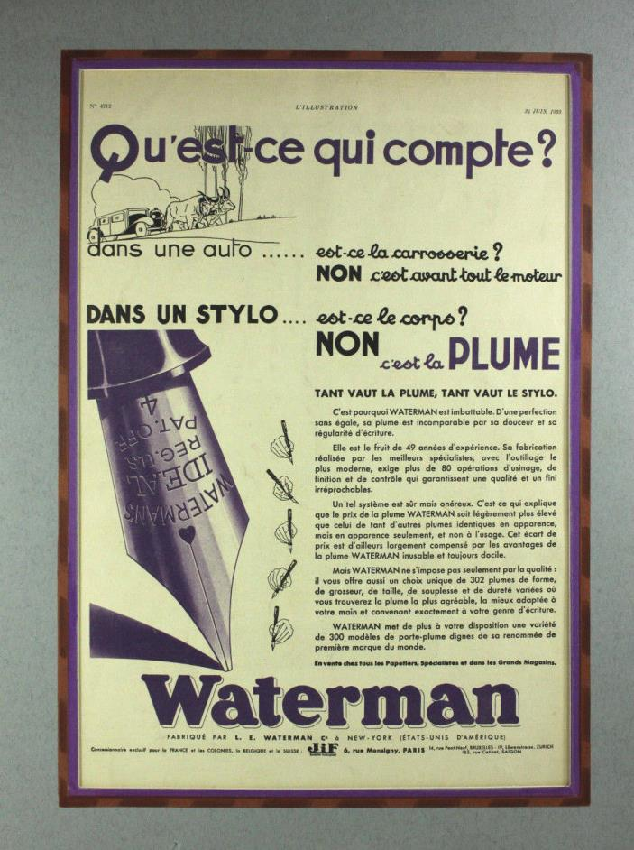 Waterman's Fountain Pen Original 1933 Vintage Print Ad Advertising French 1930's
