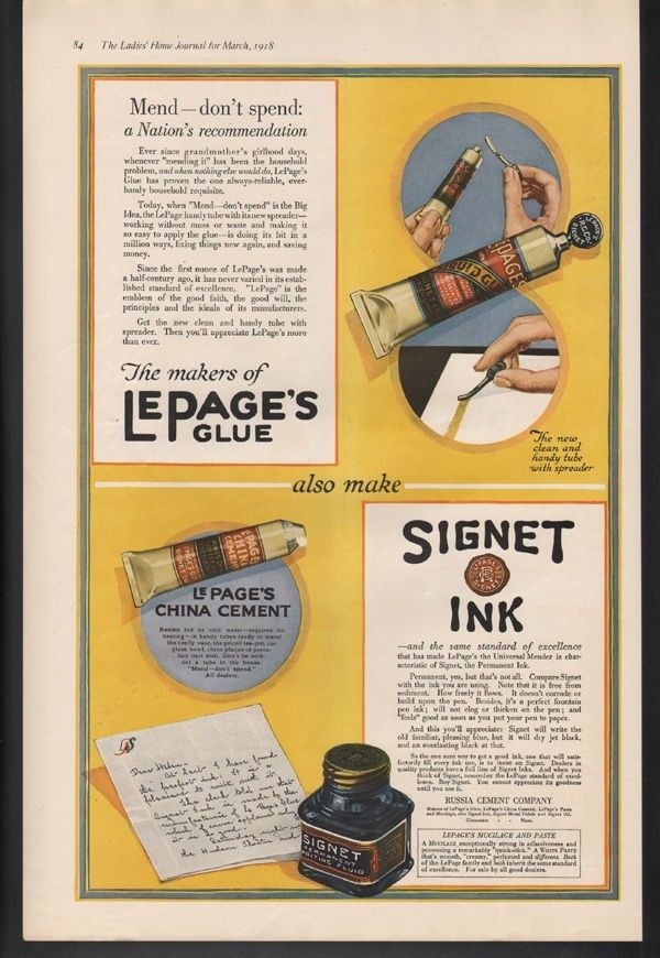 1918 RUSSIA CEMENT GLUE INK SIGNET BOTTLE TUBE WRITE LETTER PEN GLOUCESTER MA