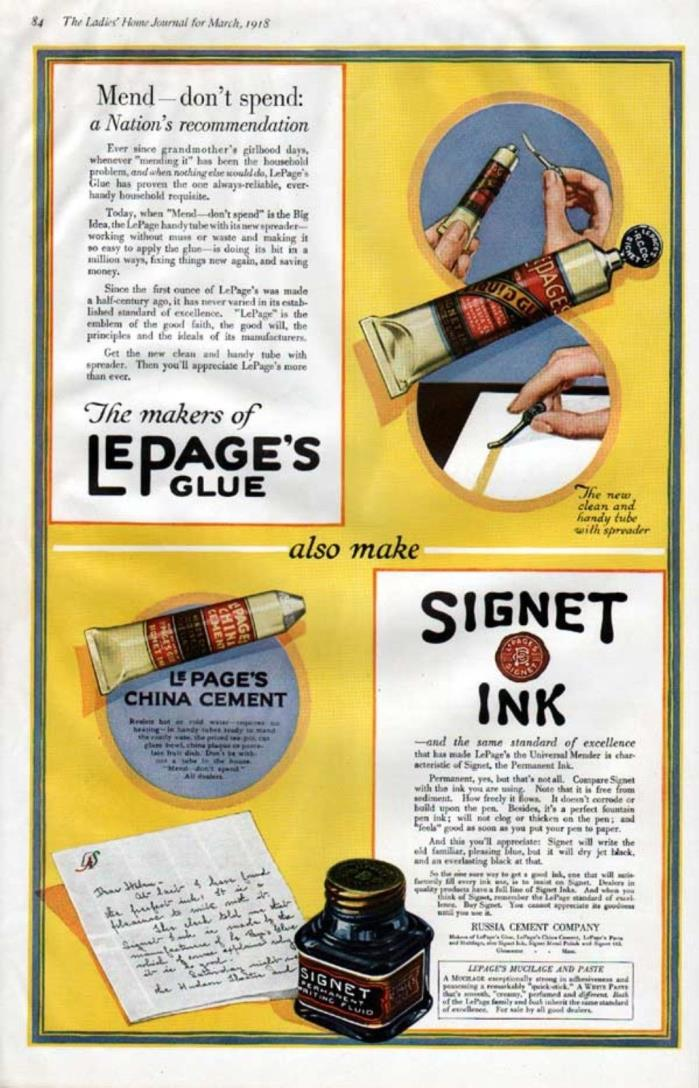 1918 LEPAGE'S GLUE SIGNET INK WRITE HOBBY CRAFT PEN ART