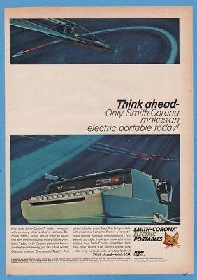 1965 Futuristic Personal Space Rocket Art Smith-Corona Electra 110 Typewriter Ad