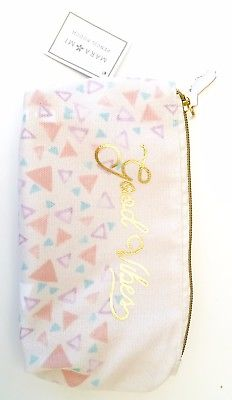 NEW Mara Mi Pencil Pouch Bag Good Vibes Geometric Triangle Design Zipper Makeup