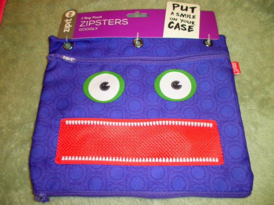 New Silly Zipit Zipsters Googly 3 Ring Bluish /Purple Zipper Open Teeth Pouch