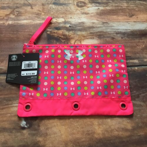 NWT Under Armour Pencil Bag Pink 3 Ring Binder Zip Pouch Brand New