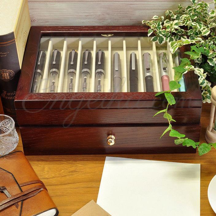 Japan Made Wancher Kabazai Urushi Lacquer Dark Brown Pen Display Case For20 Pens