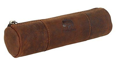 Vintage Leather Zippered Pen Pencil Pouch Gift for Men Women ~ Carry Charcoal by