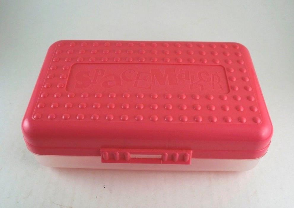 Spacemaker Pencil Box Pink and Frosted VTG 90's Plastic Case