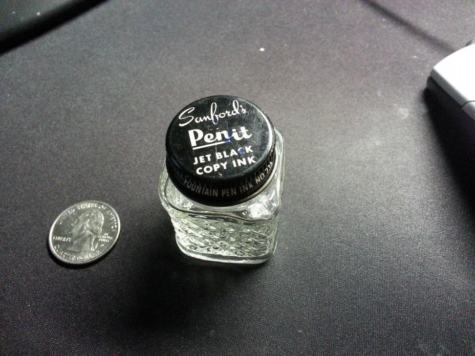 Vintage Sanford's Pen It Jet Black Copy Ink Jar Bottle