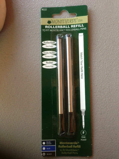 MONTBLANC BY MONTEVERDE ROLLERBALL FINE Point Refill BLACK 2 Pack NEW M222 88431