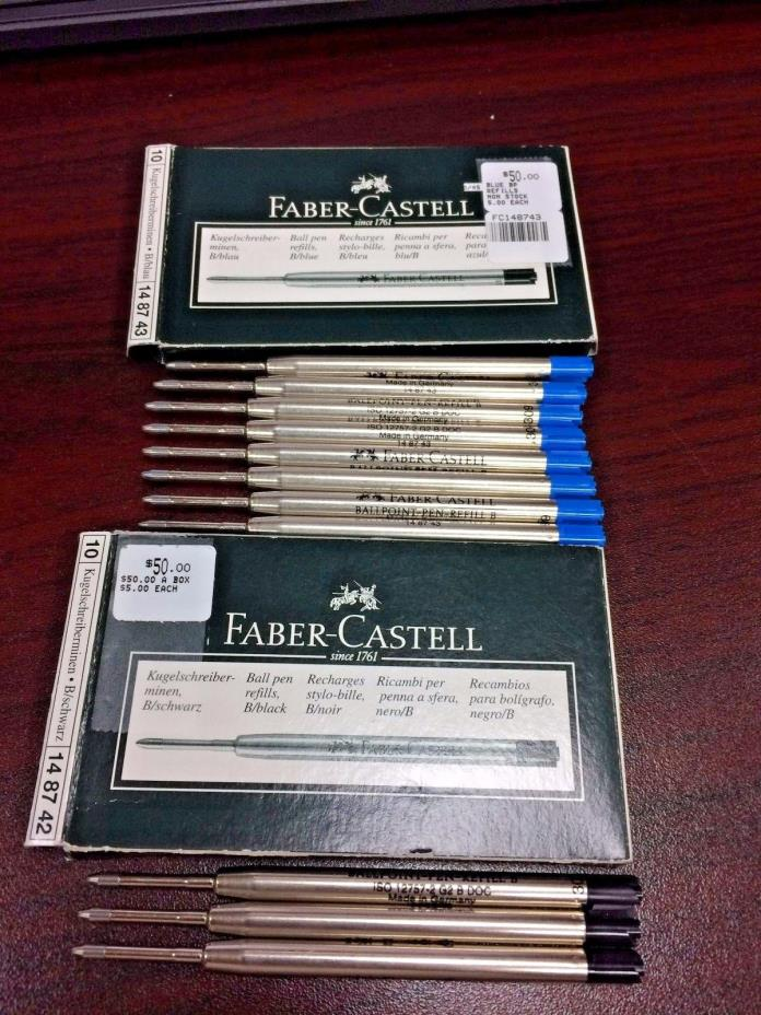 Faber- Castell Ball pen bold refills, 8 blue and 3 black model 148742 and 148743