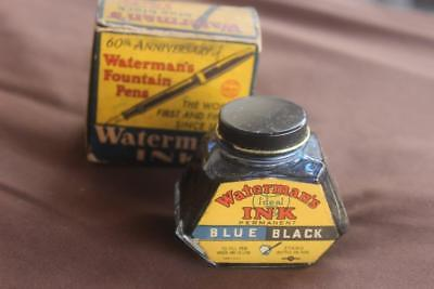 Vintage Waterman Ink Blue Black 2 onz with Box