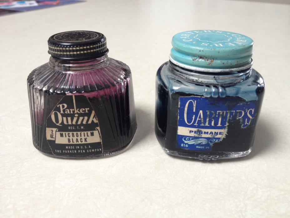 2 Partially Full Vintage Writing Inks Bottles - PRICE REDUCED