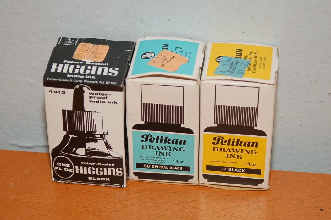 Lot of 3 Bottles of Higgins & Pelikan Drawing Ink Black 3x 1oz