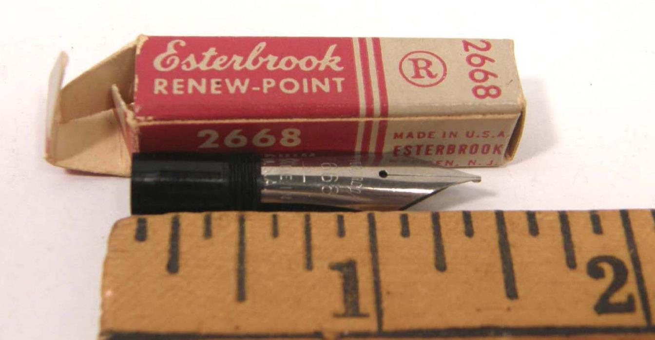 VINTAGE NOS ESTERBROOK RENEW POINT PEN NIB 2668 FIRM MEDIUM IN BOX
