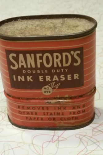 Vintage tin can Sanford double duty ink eraser.