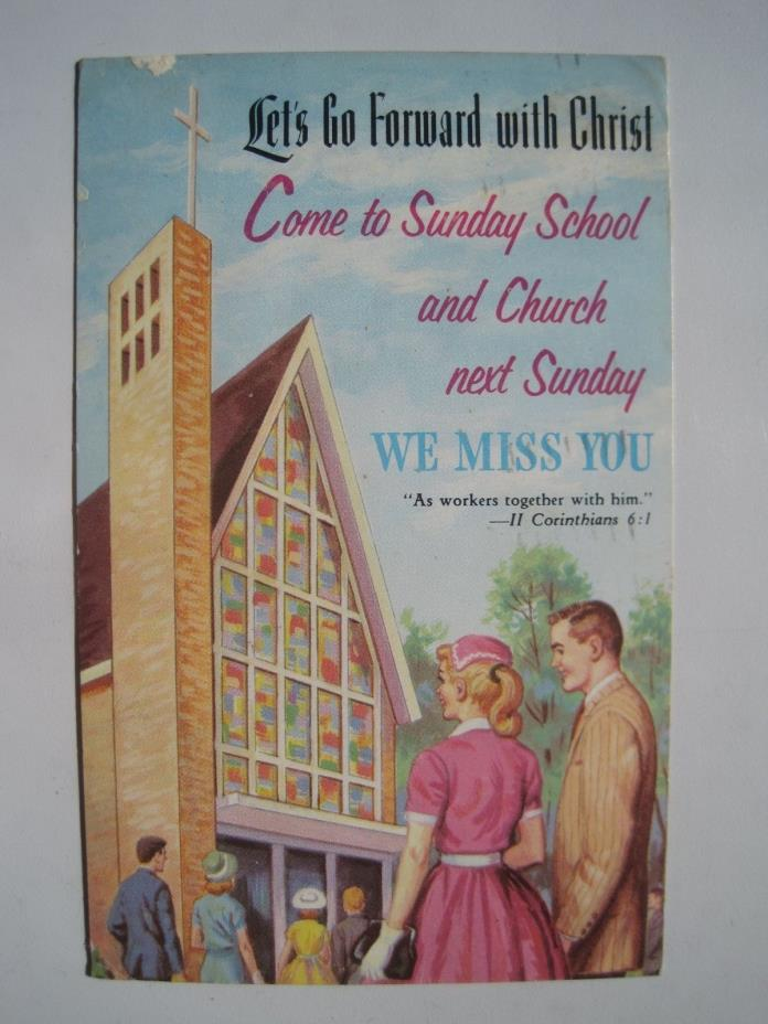 Come to Sunday School Vintage Linen Church Postcard; 1963 Decorah IA Cancel