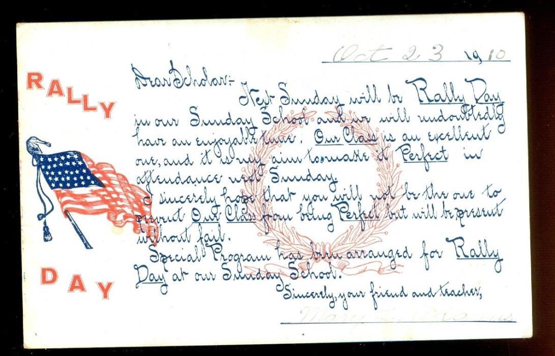 Rally Day-Sunday School-1910-Mary Adams-postmarked, Randolph, Vermont-Amer. Flag