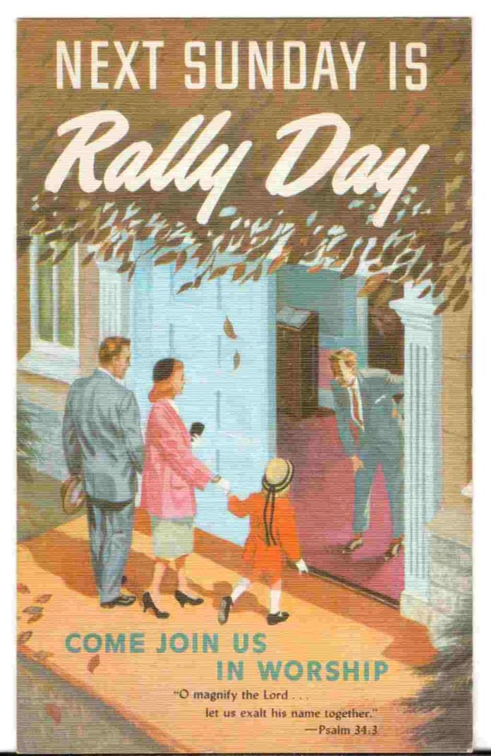 Undated Unused Postcard Next Sunday is Rally Day Come join us