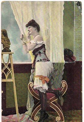 Risque Pin-up Bloomers Lady At Window Smoking Cigarette PM1908 KBIV12 Postcard