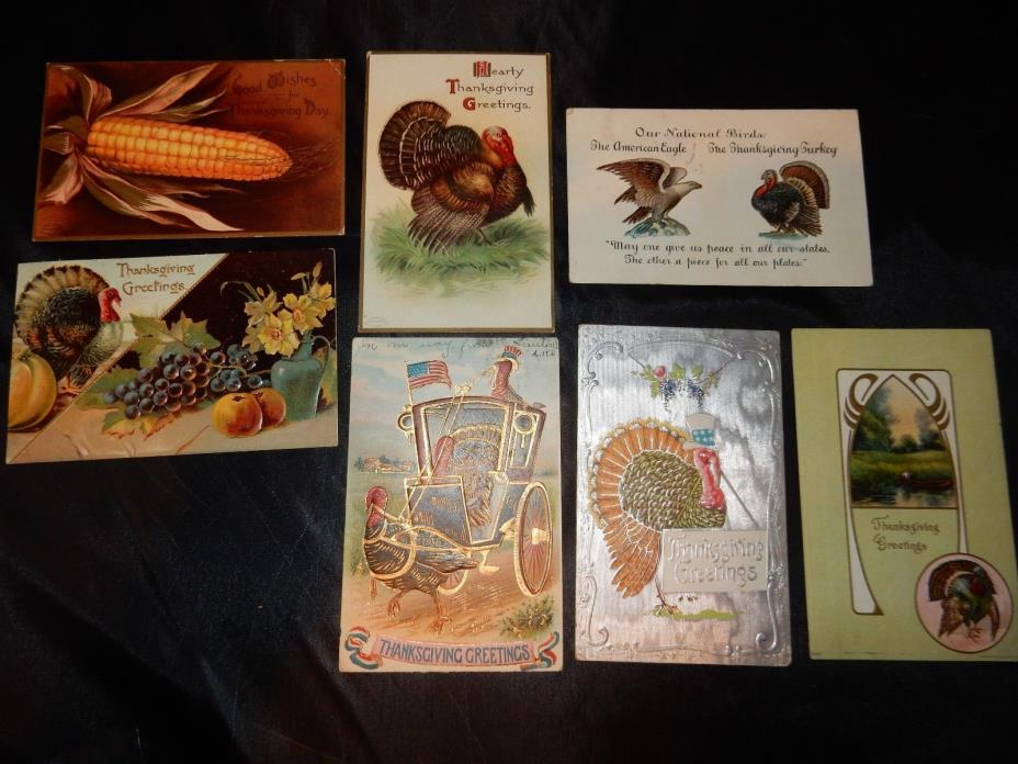 7 postcards 1900's thanksgiving