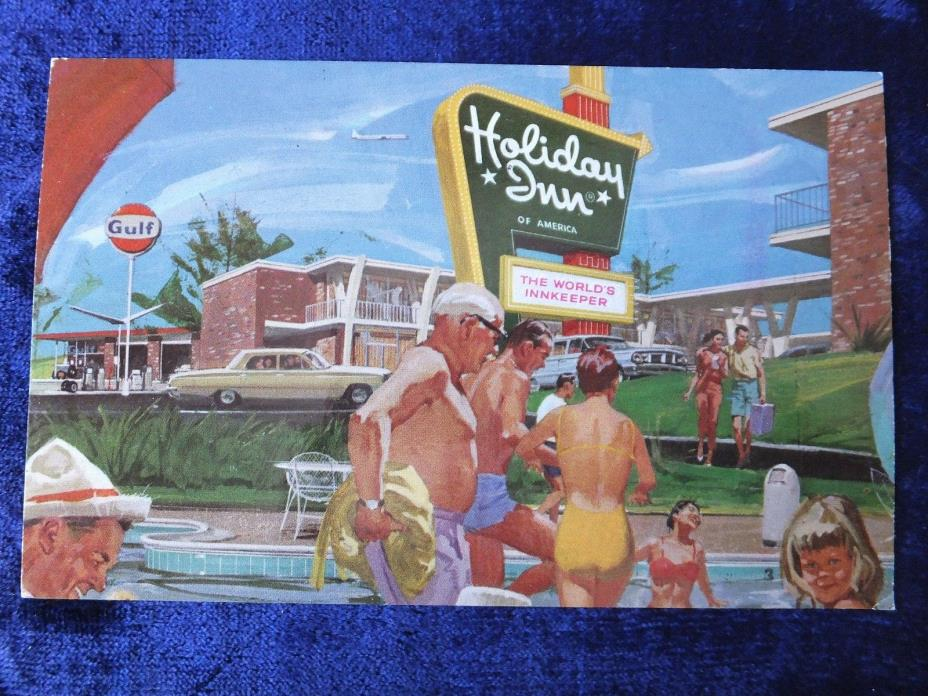 Vintage Postcard- HOLIDAY INN + GULF Station- Not Posted